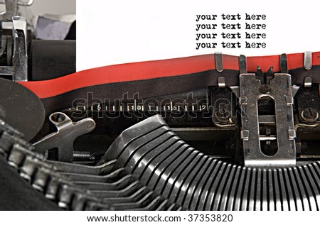 A rusty old typewriter with space on white paper for your text in typewriter fonts