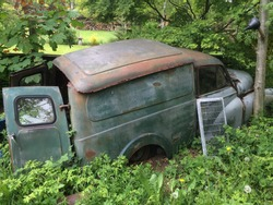 A rusty old van left abandoned