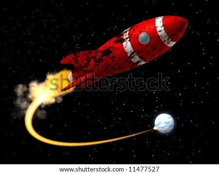 A 50\'s like Space Rocket with a damaged rusted paint texture taking off from earth.