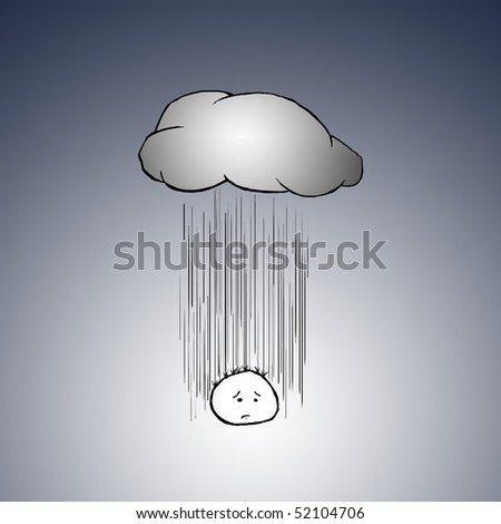A sad and depressed cartoon charactor sighs as he gets rained on by a cloud right above him.