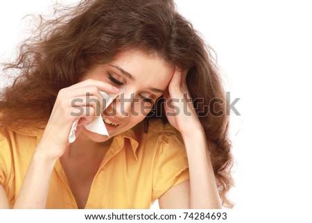 A sad beautiful woman crying