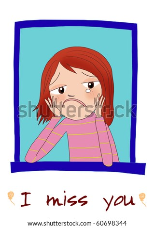 stock photo : A sad cartoon girl thinking somebody