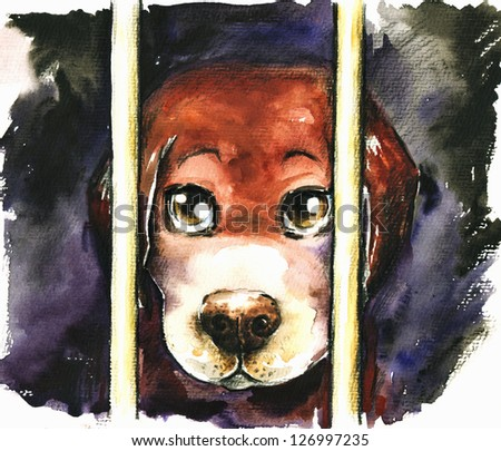 A sad dog in an animal shelter waiting for adoption.Watercolors