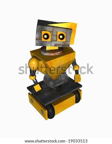 A sad little robot looking up.
