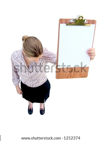 A sad woman or a woman looking down in shame holding up a clipboard with blank white paper, ready for your numbers, letters, or graph.  Soft focus on the woman.  Includes clipping path.