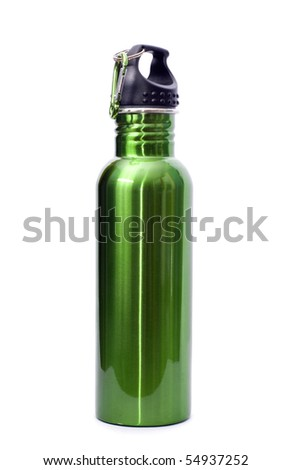 A safe, reusable, green, stainless steel water bottle isolated on white background.