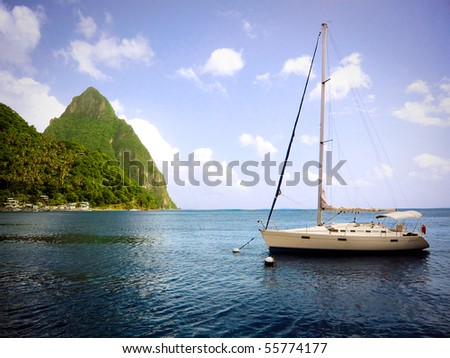 A sailboat and Gros Piton in St. Lucia.