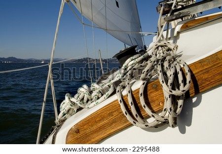 A sailboat with rope and winch.