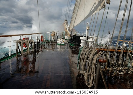 A sailing ship in a storm