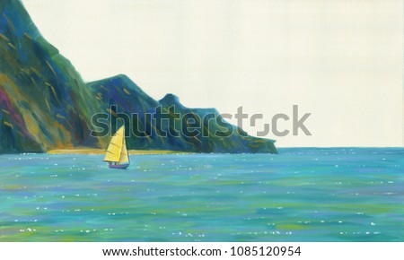 A sailing yacht floating on the sea against the background of rocks and beach. Sunny is a quiet day. Oil painting.