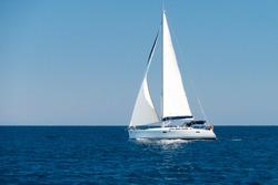 a sailingboat at sea outside the coast of Corsica