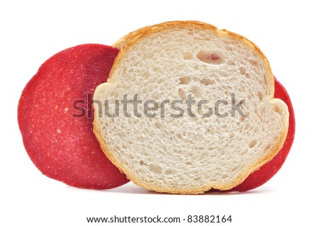 a salami sandwich on a white background