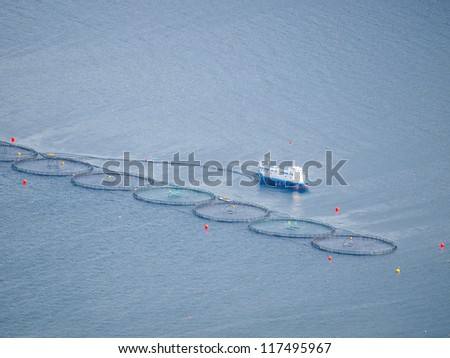 A salmon farm in a fjord in Norway