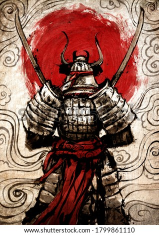A samurai standing with his back to the viewer with two Katanas crossed at his chest. It is equipped in Japanese armor, against the background of a huge red sun. drawn in ink. 2D illustration.