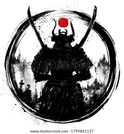 A samurai standing with his back to the viewer with two Katanas crossed at his chest. It is equipped in Japanese armor, circled in a circle. drawn in ink. 2D illustration.