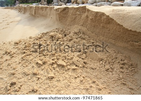 A sand bank being eroded by a stream