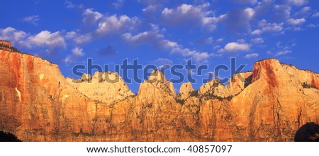 A sandstone canyon wall in Zion National Park, Utah. - stock photo