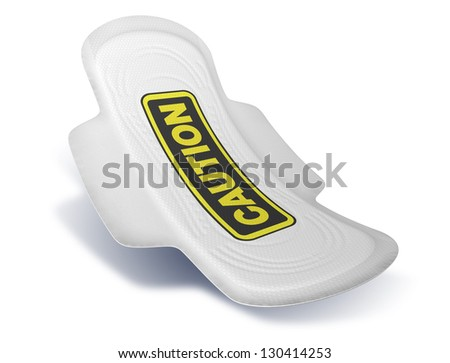 A sanitary pad with a black and yellow caution sign printed on it on an isolated background