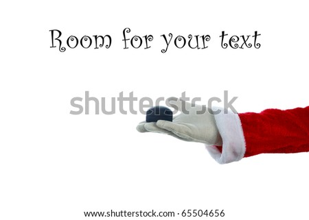 A Santa Claus arm holds a Diamond Ring in a Ring Box isolated on white with room for your text or images