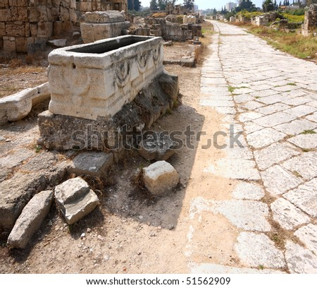 A sarcophagus on the byzantine road, Tyre (Lebanon)