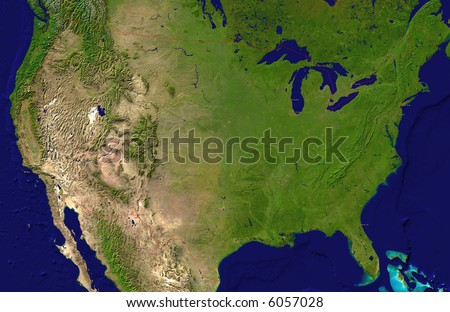 A satellite map of USA and neighboring countries with the main cities