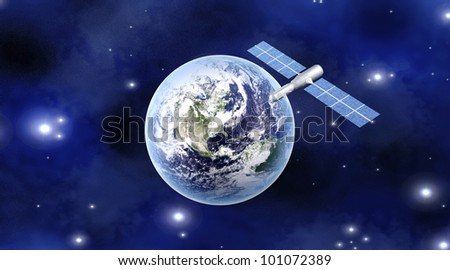 A satellite orbiting over the earth. 3D rendered Illustration.