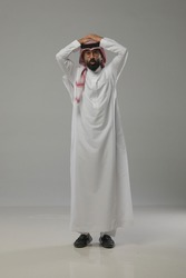 A saudi character in more than one poses in a white background for commercial use