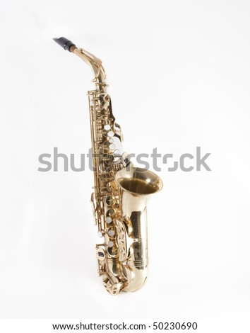A saxophone isolated on a white background