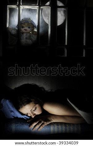 A scary doll outside the window with a girl sleeping