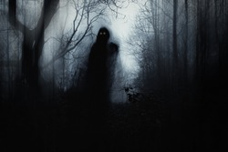 A scary hooded figure with glowing eyes in a spooky forest on a foggy winters day. With a artistic, blurred, abstract, grunge edit.