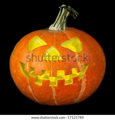 A scary old jack-o-lantern on black... #17121784