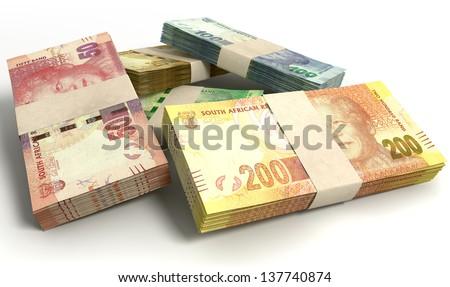 A scattered pile of bundled south african rand bank notes on an isolated background