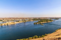 A scene for the Nile in Aswan. Colorful landscape of Nile in Aswan.