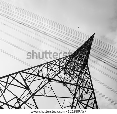 A scene of high voltage tower.
