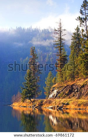 A scenic area along the shore line of Fernan Lake near Coeur d'Alene, Idaho