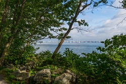 A scenic framed view of the Sandy Hook Bay from the Henry Hudson Trail in Atlantic Highlands.