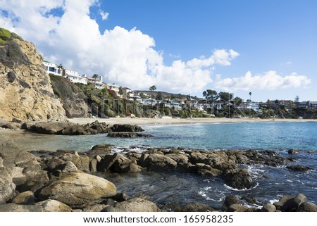 A scenic image of Crescent Bay in Laguna Beach, California on a beautiful winder day. - stock photo