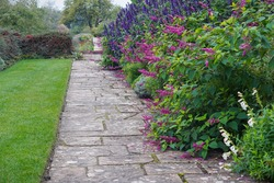 A Scenic Summertime View of a Stone Paved Path through a Beautiful English Style Garden with a Flowers in Bloom