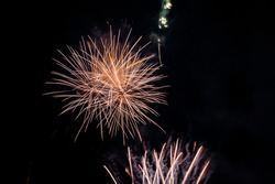 A scenic view of fireworks illuminates the sky with a dazzling display