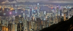 A scenic view of highrise buildings in the busy city of Hong Kong
