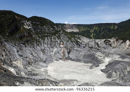 A scenic view of Kawah Ratu which is the biggest volcanic crater on Mount Tangkuban Perahu, Bandung, West Java, Indonesia. The crater is also known Queen of the Craters.