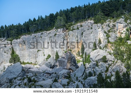 A scenic view of mountainous terrain with picturesque woodland in Cadi-Moixero Natural Park Zdjęcia stock ©