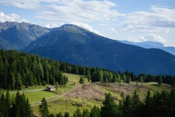 A scenic view of the mountain ranges of Rodenecker und Lusner Alm in South Tyrol, Italy