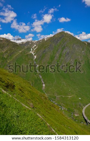 A scenic view of the San Bernardino Pass in Swiss Alps in summer. Mountains in summer. #1584313120
