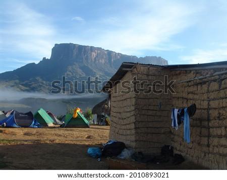 A scenic view of travelers camping at Rio Tek in Ciudad Bolivar, Venezuela Stok fotoğraf ©