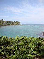 A scenic waterscape of Waiulua Bay near Waikoloa, on Kona, the Big Island of Hawaii