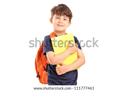 A school boy with backpack holding a notebook isolated on white background f