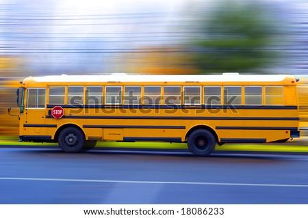 A school bus speeding on a local rad