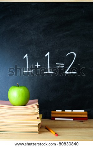 A school chalkboard and teacher's desk with stack of exercise books and an apple.  The sum '1 + 1 = 2' is written on the chalkboard.