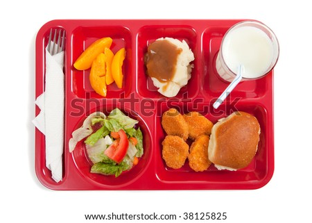 A school lunch tray on a white background with copy space - stock photo